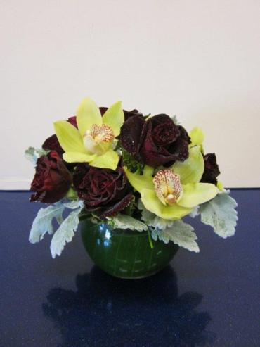 Black Baccarat Roses and Orchids